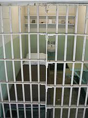 A prison cell in Alcatraz, California.