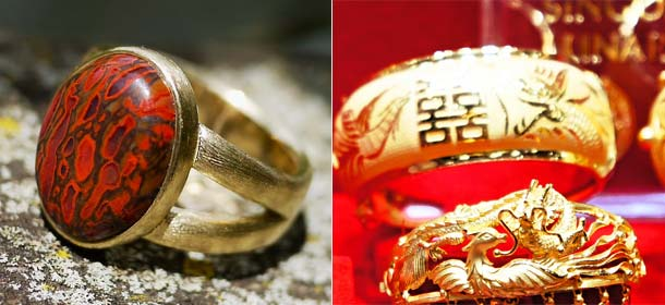 18k gold (left) and 24k gold (right)