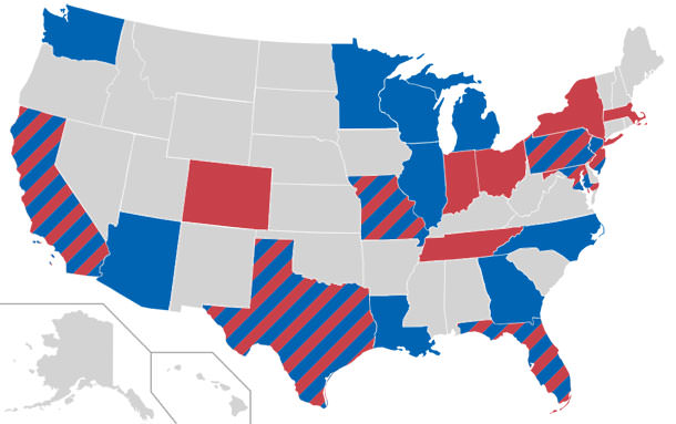 states with red have afc teams states with blue have nfc teams some states