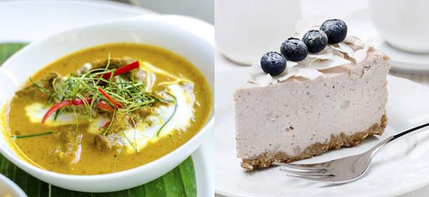 Red curry paste with sliced beef and coconut milk (left) and blueberry and coconut cheesecake (right).
