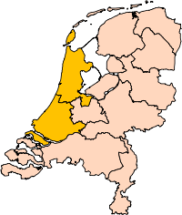 A map of the provinces of the Netherlands, with North and South Holland highlighted.
