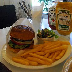 A hamburger served with French fries and salad