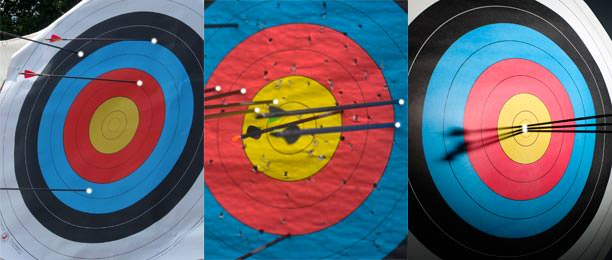 The target at left displays neither accuracy nor precision, while the target in the middle displays some precision but little accuracy. Finally, the third target, at right, shows both accuracy and precision.