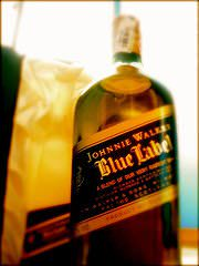 A bottle of Johnnie Walker scotch whisky