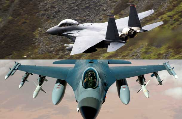 F-15 low-level flying over North Wales and F-16 flying a mission in Iraq.