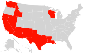 Community Property states highlighted in Red