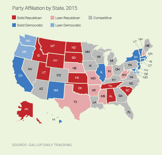 A map showing Republican-leaning states in red and Democratic-leaning states in blue. a.k.a. red and blue states map.