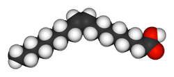 Chemical structure of Oleic acid (C9H17C9H17O2), a cis fat. In the cis configuration the carbon chain extends from the same side of the double bond making the molecule bend.