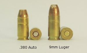A side-by-side comparison of the .380 Auto and 9mm Luger cartridges, showing differences in both length and diameter.