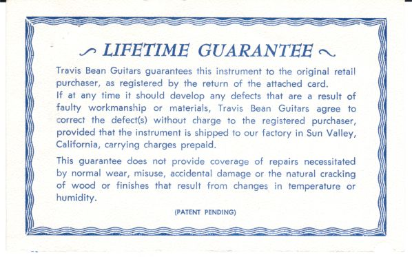 "An example of a lifetime warranty from a guitar manufacturer. Here, they have chosen to call it a ""guarantee."" Legally, there is no difference; it is still an express warranty."