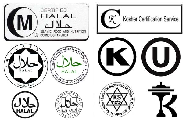 A collection of halal (left) and kosher (right) certification symbols.