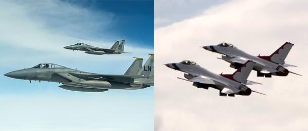 F-15s and F-16s flying in formation.