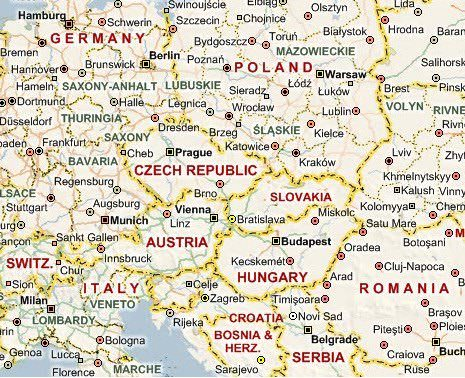 Map of Slovakia, the Czech Republic and neighboring countries in Europe