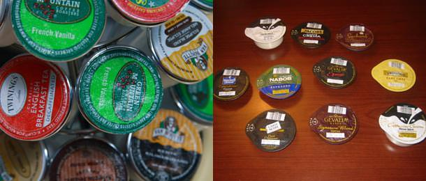 K-cups (left) do not have barcodes like T-discs (right) do.