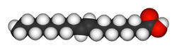 Chemical structure of Elaidic acid (C9H17C9H17O2), an isomer of oleic acid, but a trans fat. In the trans configuration the carbon chain extends from opposite sides of the double bond making a straighter molecule.