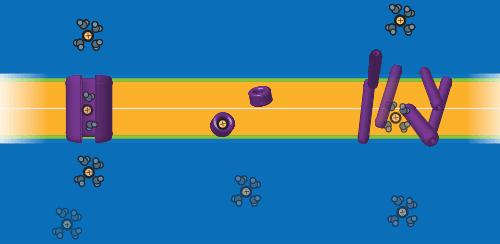 Tres mecanismos diferentes de transporte activo en una membrana de dos capas. A la izquierda, canal de ion (trayectoria definida); al centro cargador ionofónico (el transportador hace difusión junto al ion); a la derecha es un proceso detergente (se altera la membrana de forma no especializada).