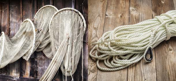 Nylon fishing nets and rope.