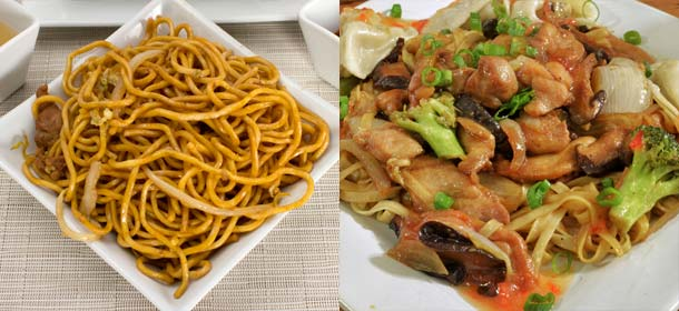 Lo mein noodles in a square bowl (left) and chicken lo mein (right)
