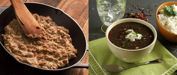 Pinto beans used to make refried beans (left) and black bean soup with a side dish of rice (right).