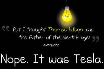Web comic TheOatmeal published a tribute to Tesla in which he criticized Edison heavily for his role in the War of the Currents.