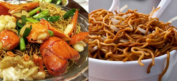 Lobster chow mein (left) and crispy chow mein in a cup (right)