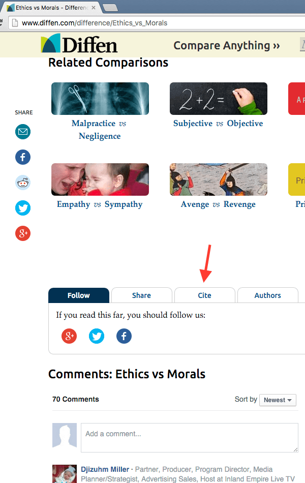 The Cite button is located below the article, and above the Comments section.