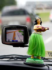 A GPS device in a car.