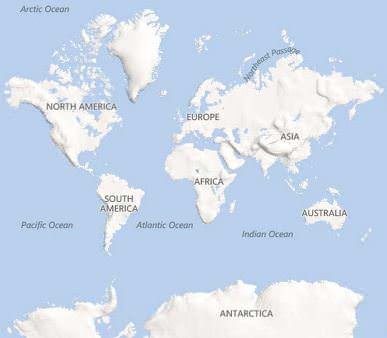 A map of the world, showing four of the five oceans. The Southern Ocean (not marked on the map) is around the Antarctic Circle.