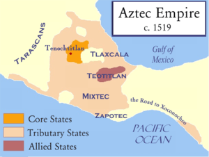 A map of the Aztec Empire before the Spanish conquest.