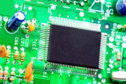 A microprocessor on a motherboard.