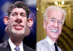 Ryan vs Biden caricature by DonkeyHotey