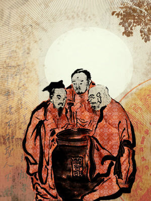 The Vinegar Tasters, a traditional Asian allegorical painting where Buddha, Confucius and Laozi are gathered around a vat of vinegar.