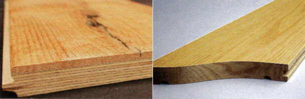 Side-by-side look at the constructive differences between engineered hardwood (left) and solid hardwood (right). Image from 2013 Floor Covering News.