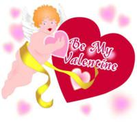 Valentine's Day greeting card - Angelic Cupid with hearts
