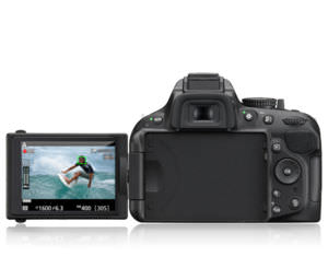 Unlike the D7100's screen, the D5200 screen can be tilted and swiveled at different angles.