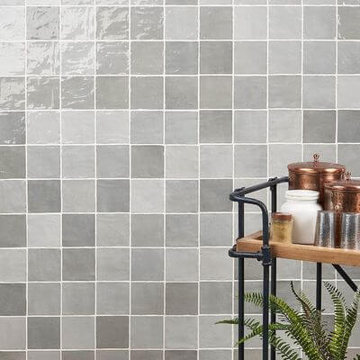 See Kingston's gray polished ceramic wall tiles on Amazon.