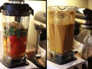 A veggie smoothie, before and after being crushed in a Vitamix blender