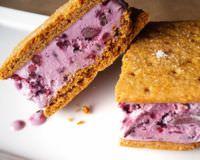 Blackberry ice cream sandwiches.