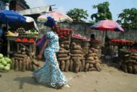 Yams for sale in Lagos, Nigeria.