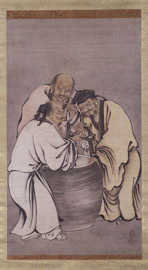 The Vinegar Tasters, a traditional Chinese painting that represents the core philosophies of Buddhism, Taoism and Confucianism