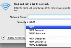 WEP and WPA security options while connecting to a wireless network