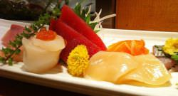 Sashimi plate with various garnishes
