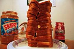 'Sandwich Tower', made of Peanut Butter Jelly and Strawberry Jam sandwiches