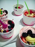 Frozen yogurt with various toppings