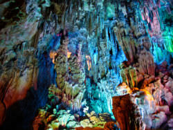 The colorful speleothem formations in Reed Cave, China
