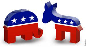 Logo of Republican (L) and Democratic (R) parties
