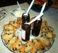 Blueberry scones with jam and clotted cream