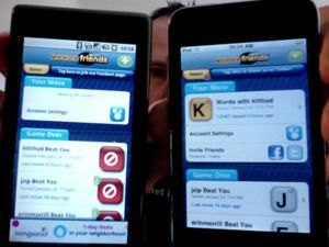 Words With Friends app on Android (L) & iOS (R)
