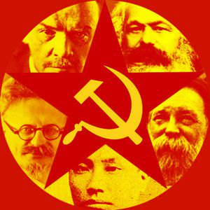Hammer, sickle and the red star are universal symbols of communism. Also seen are some famous communists, from bottom clockwise, Chen Duxiu, Leon Trotsky, Vladimir Lenin, Karl Marx, Friedrich Engels.