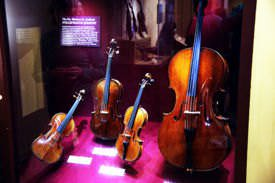 Stradivarius instruments on display at Smithsonian Museum of American History. L->R: Greffuhle Violin, Axelrod Viola, Ole Bull Violin and Marylebone Cello